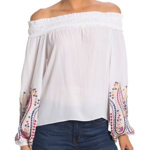 Ramy Brook Carly Embroidered Off Shoulder Top